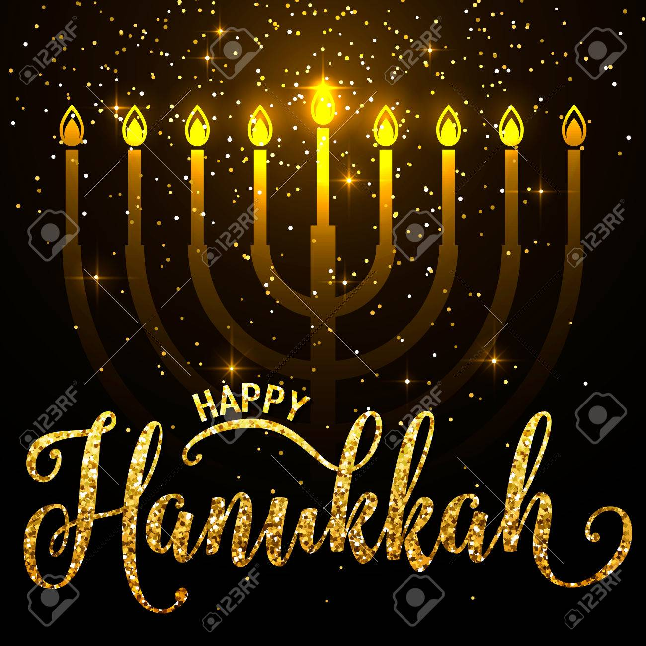Vector Illustration Of Happy Hanukkah Gold Greeting Card Happy