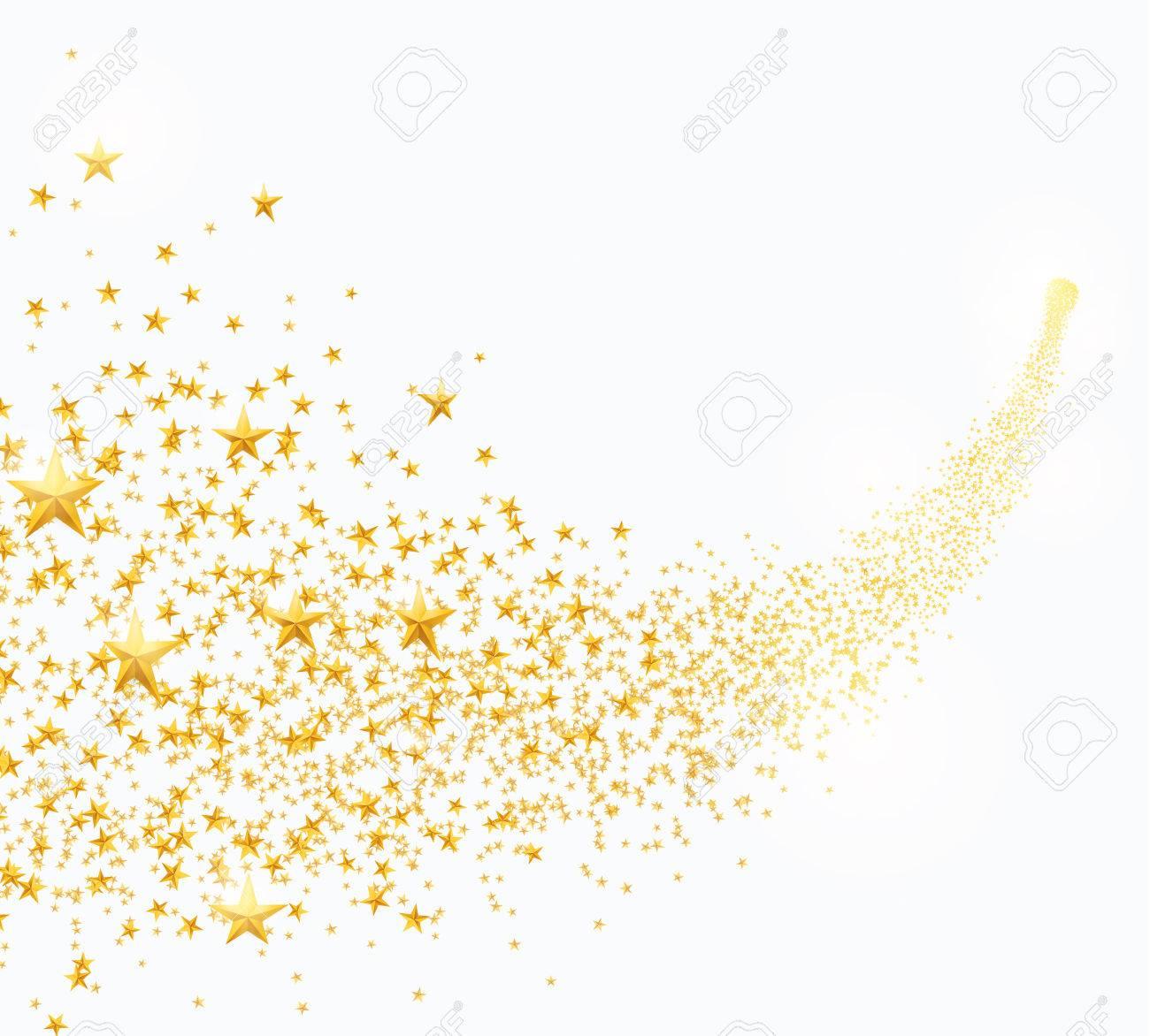 Vector illustration of abstract falling golden stars, dust - 87349406