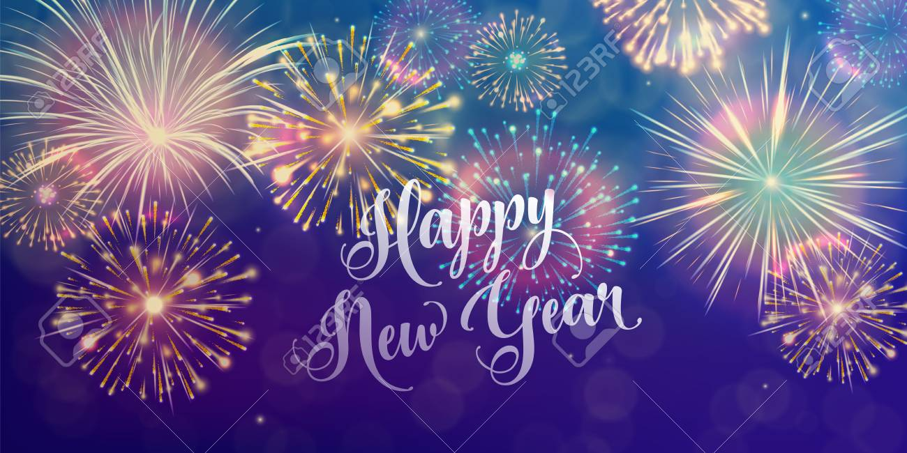 Happy new year holiday background seasons greetings fireworks happy new year holiday background seasons greetings fireworks design concept stock photo 89312420 kristyandbryce Image collections
