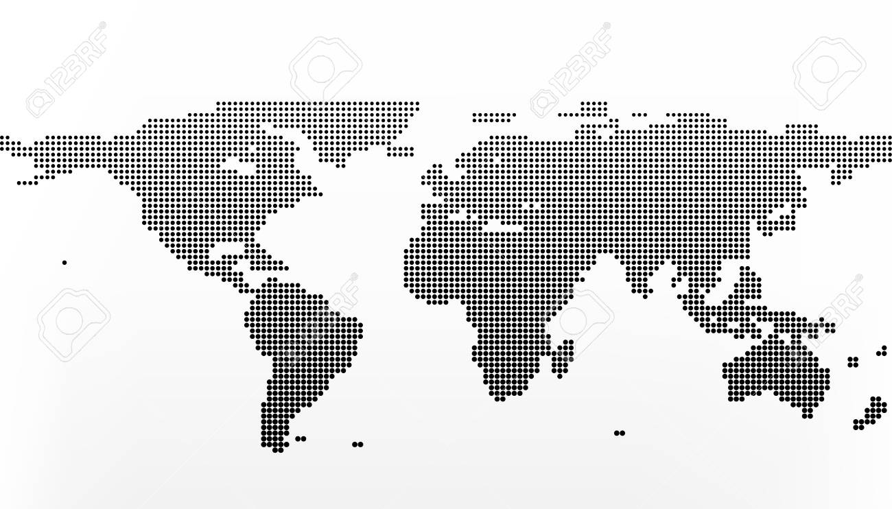 World Map In Dots. Earth Business Concept In Flat Style Isolated