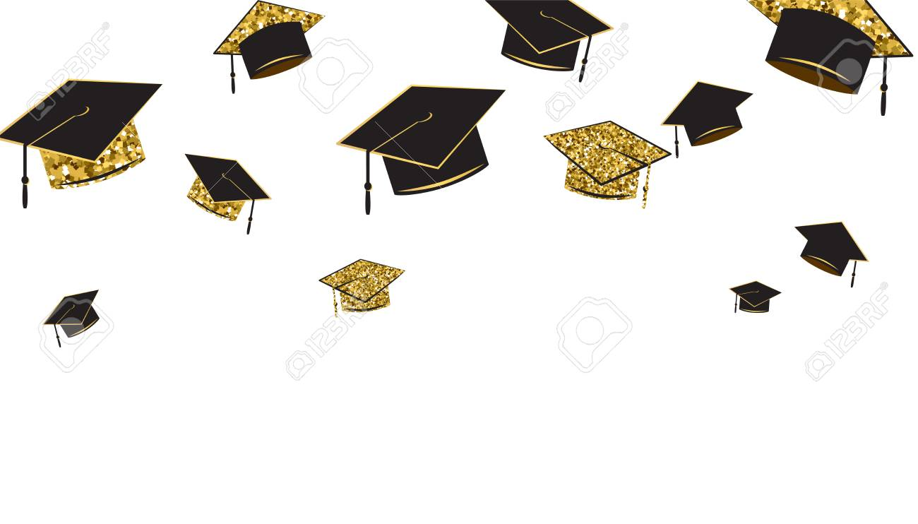 Graduate Caps Banner Black And Gold Color On A White Background