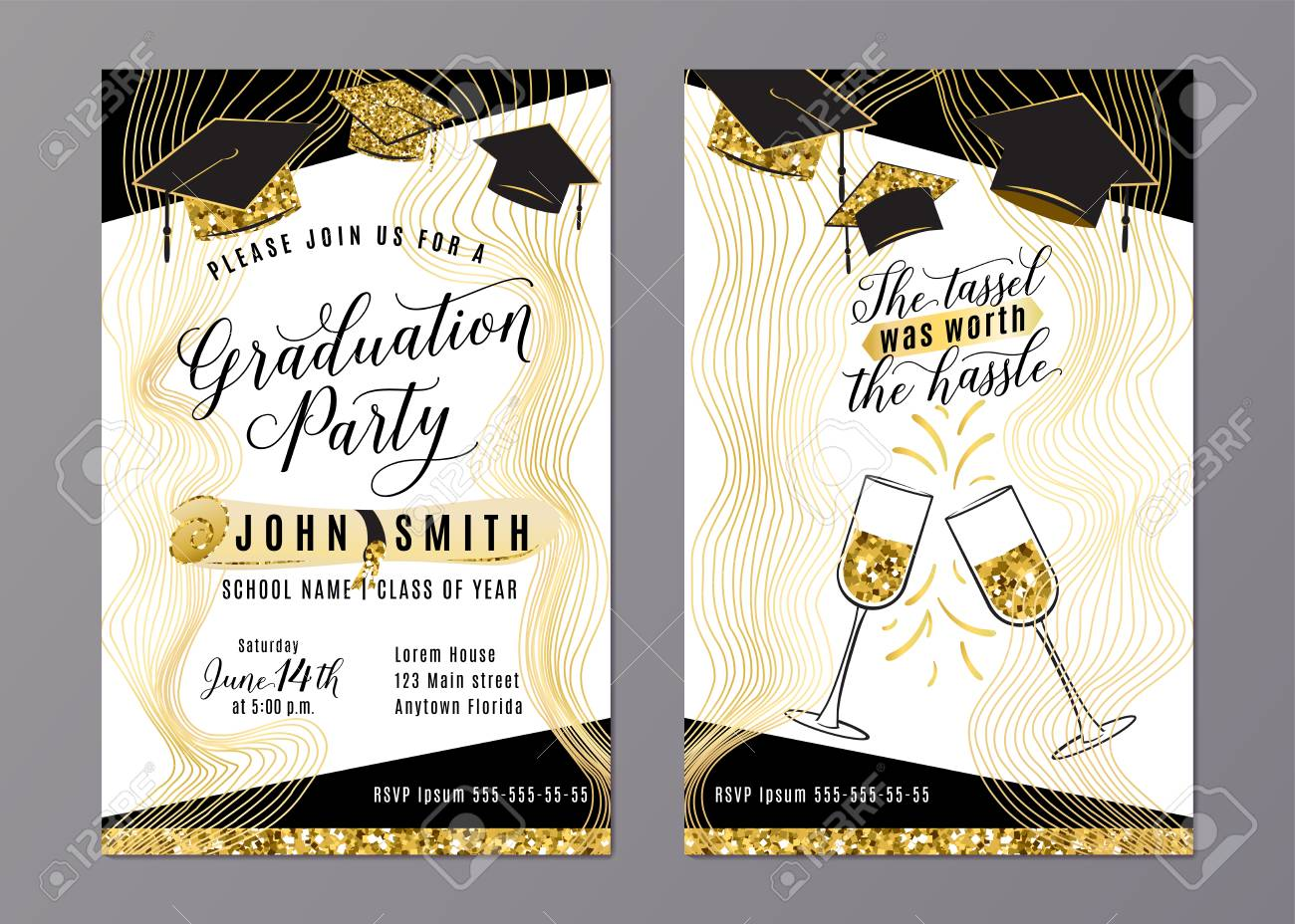 Graduation Party Class Of 2018 Vertical Invitation Card With.. Royalty Free  Cliparts, Vectors, And Stock Illustration. Image 101729542.
