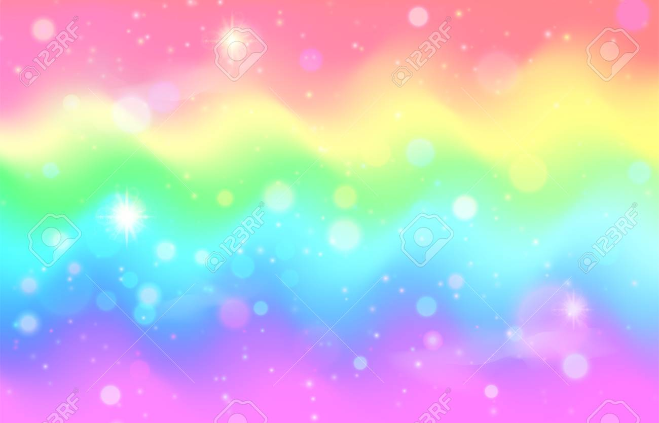 Unicorn Rainbow Wave Background Mermaid Galaxy Pattern With