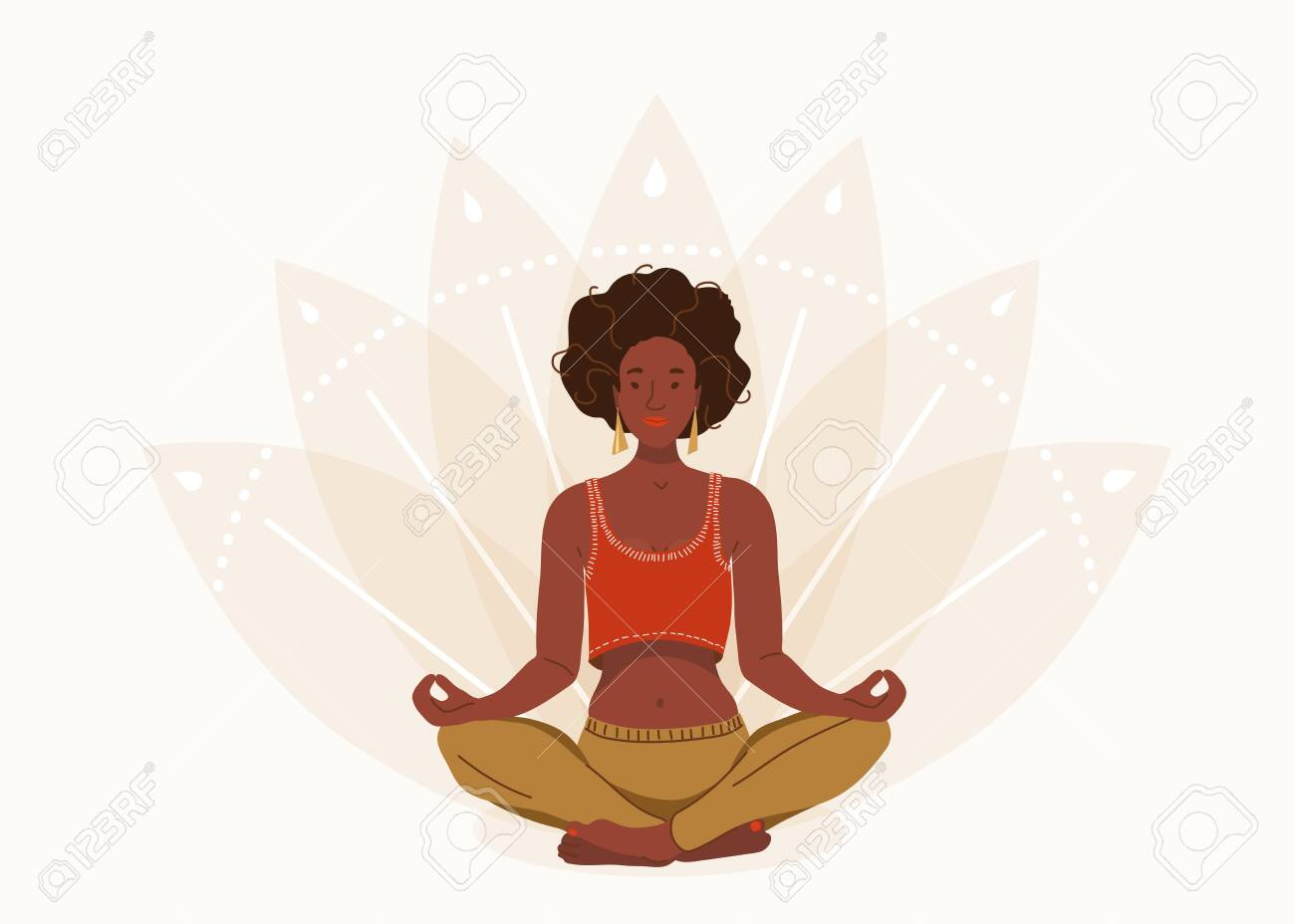 African Young Woman Sitting In Yoga Lotus Pose Happy Relaxed Royalty Free Cliparts Vectors And Stock Illustration Image 143766457