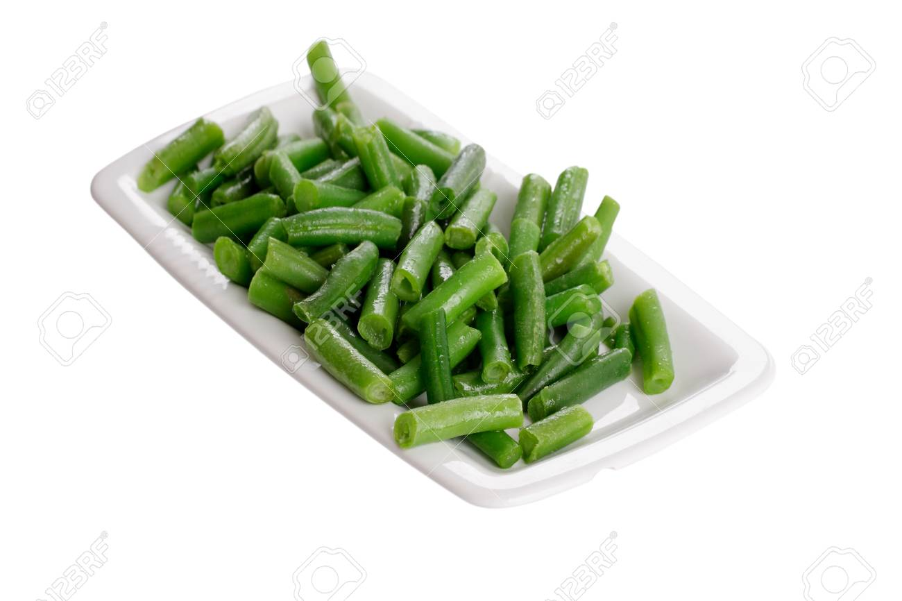 Fried green beans on a white plate Stock Photo - 27552020