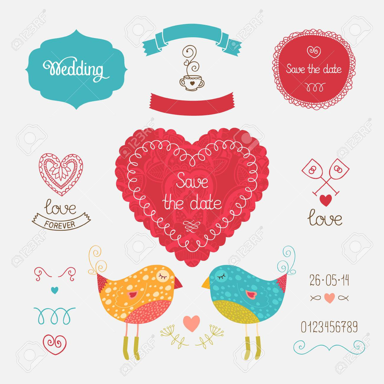 Wedding Invitation Collection With Heart, Birds, Hand Drawn Elements ...