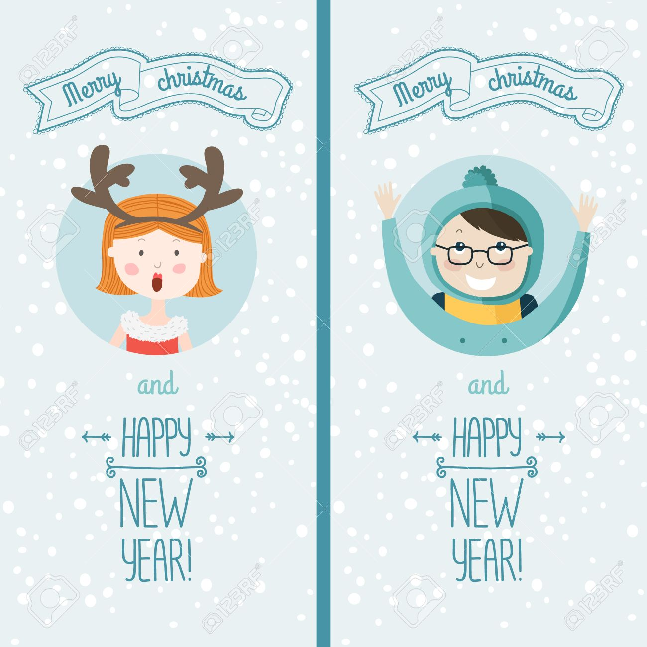 happy new year card with cute kids vector illustration merry christmas and happy new year
