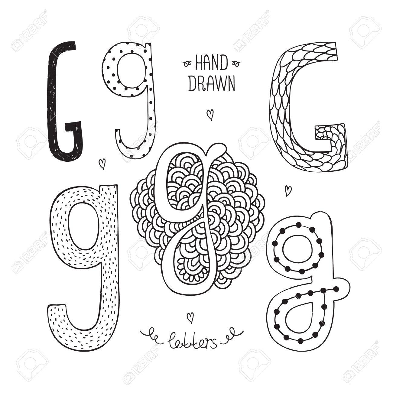 Vector hand drawn alphabet letter g doodle letters set isolated vector vector hand drawn alphabet letter g doodle letters set isolated on white background altavistaventures Gallery