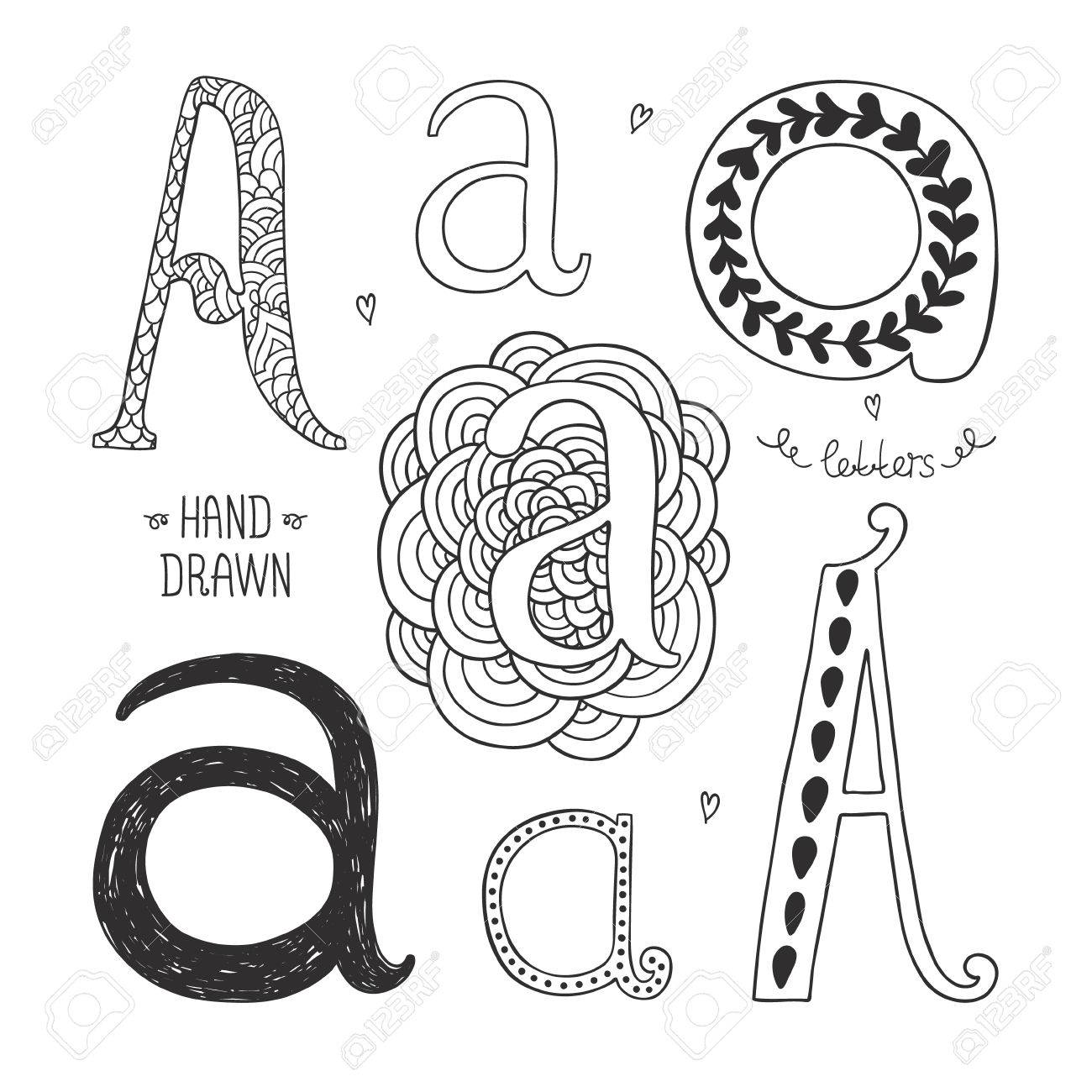 Vector hand drawn alphabet letter a doodle letters set isolated vector vector hand drawn alphabet letter a doodle letters set isolated on white background altavistaventures Images