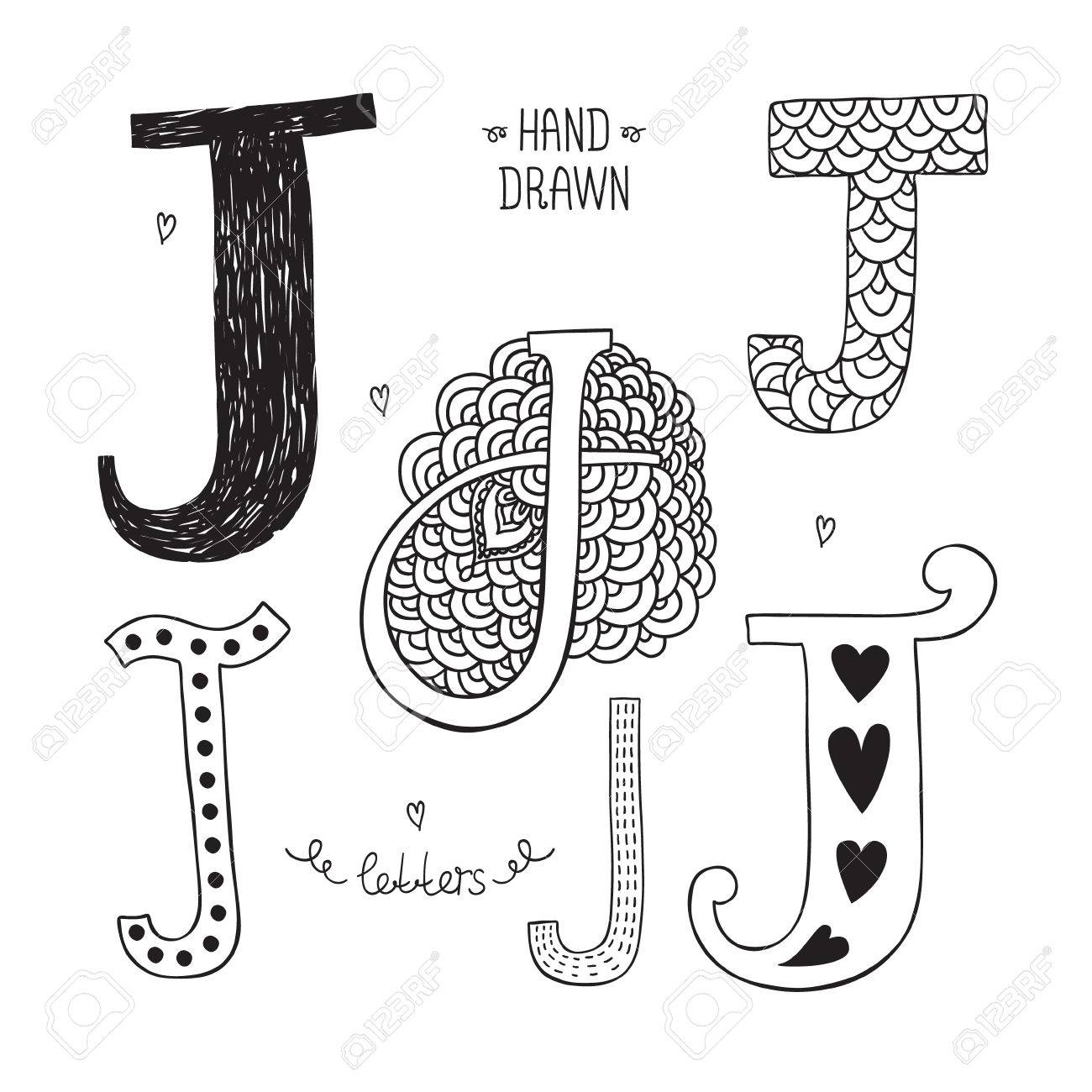Vector hand drawn alphabet, letter j  Doodle letters set isolated