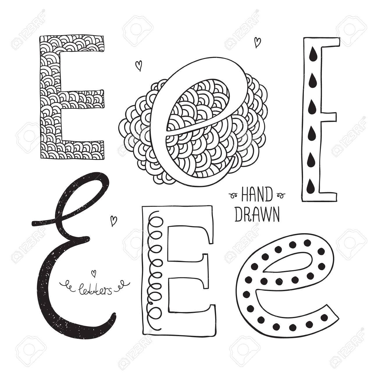 Vector hand drawn alphabet, letter e  Doodle letters set isolated