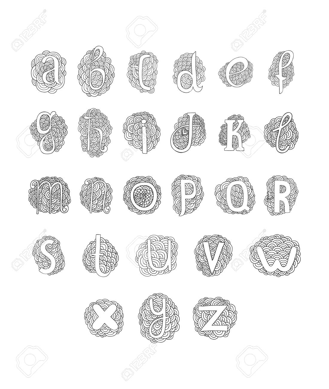 Vector hand drawn alphabet isolated on white background doodle vector vector hand drawn alphabet isolated on white background doodle letters collection thecheapjerseys Gallery