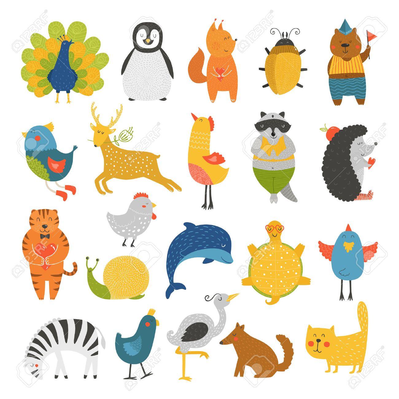 Nette Tiere Sammlung, Tierbabys, Tiere Vektor. Vector Katze, Pfau ...