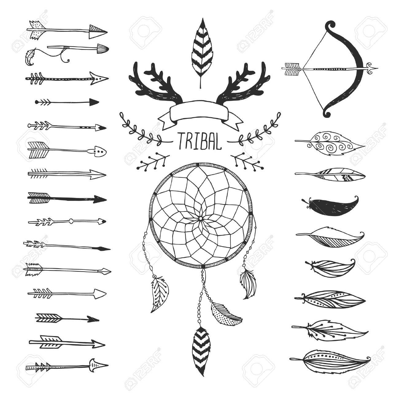 Tribal Vector De Elementos De Diseño, Símbolos Aztecas, Flechas ...
