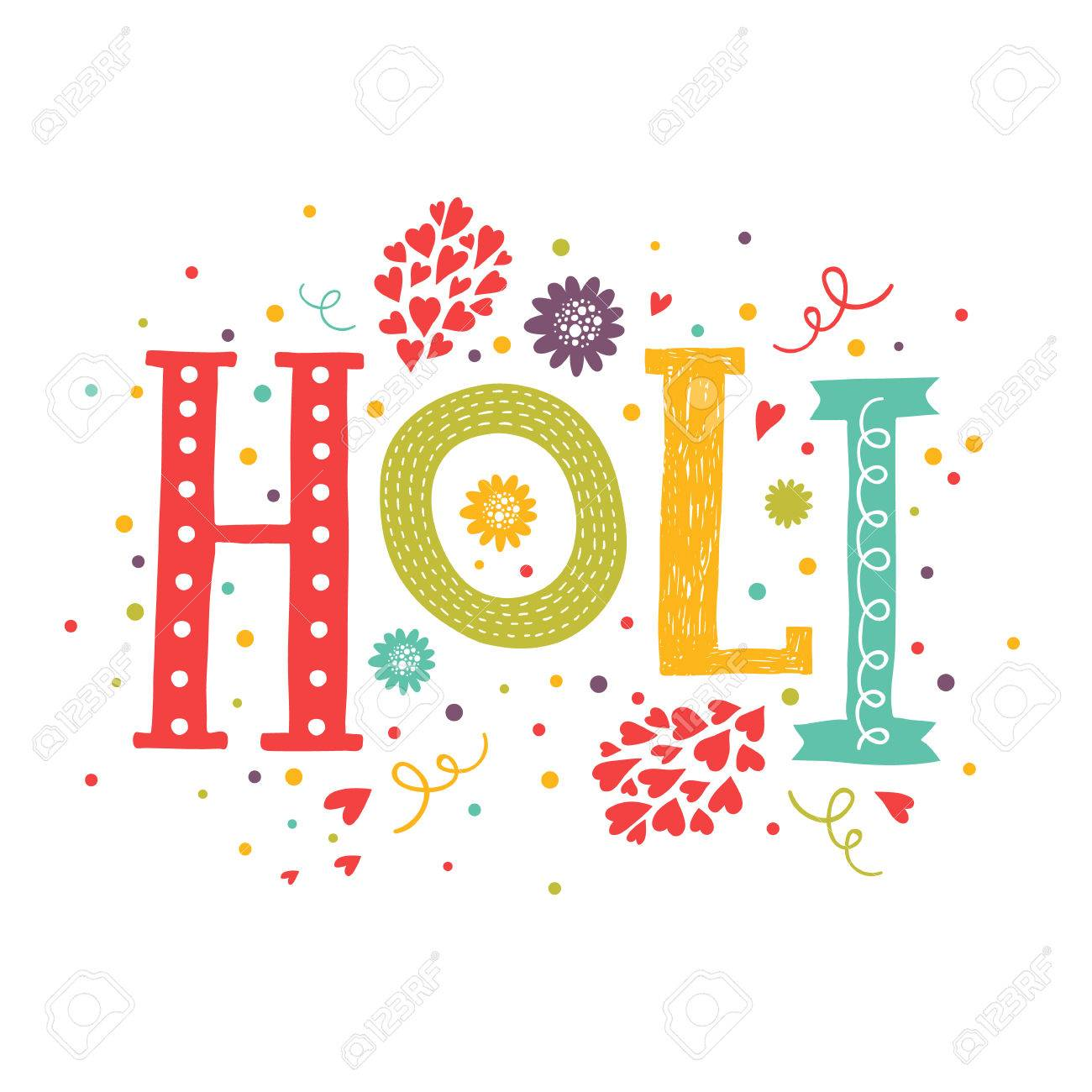 Indian Festival Decoration Vector Greeting Card Happy Holi Holi Festival Lettering With