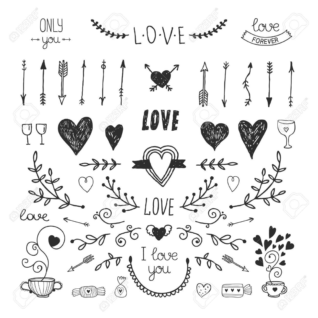 Amour Des Elements Vintage Decoratifs La Main Collection Dessinee