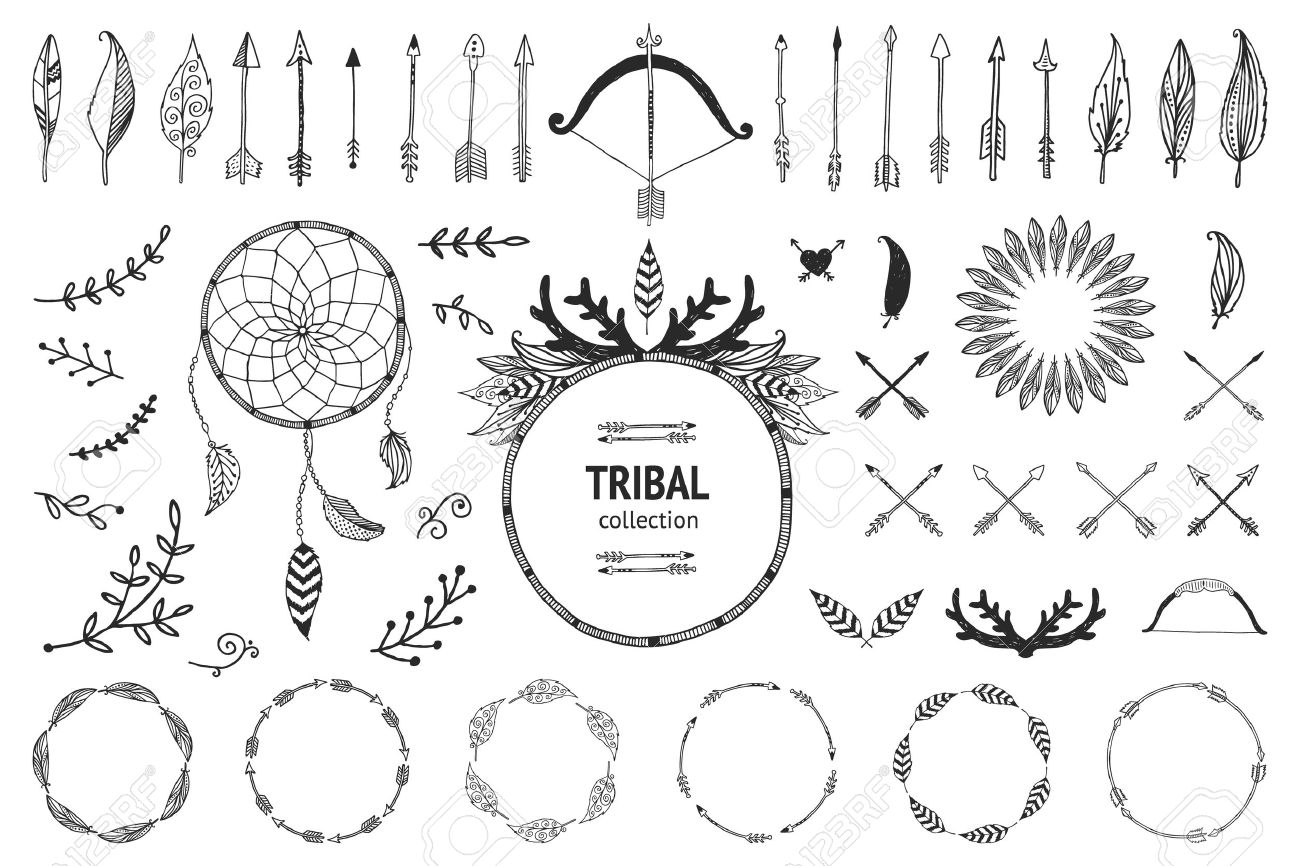 Ancient Arrow Drawing Hand Drawn Tribal Collection