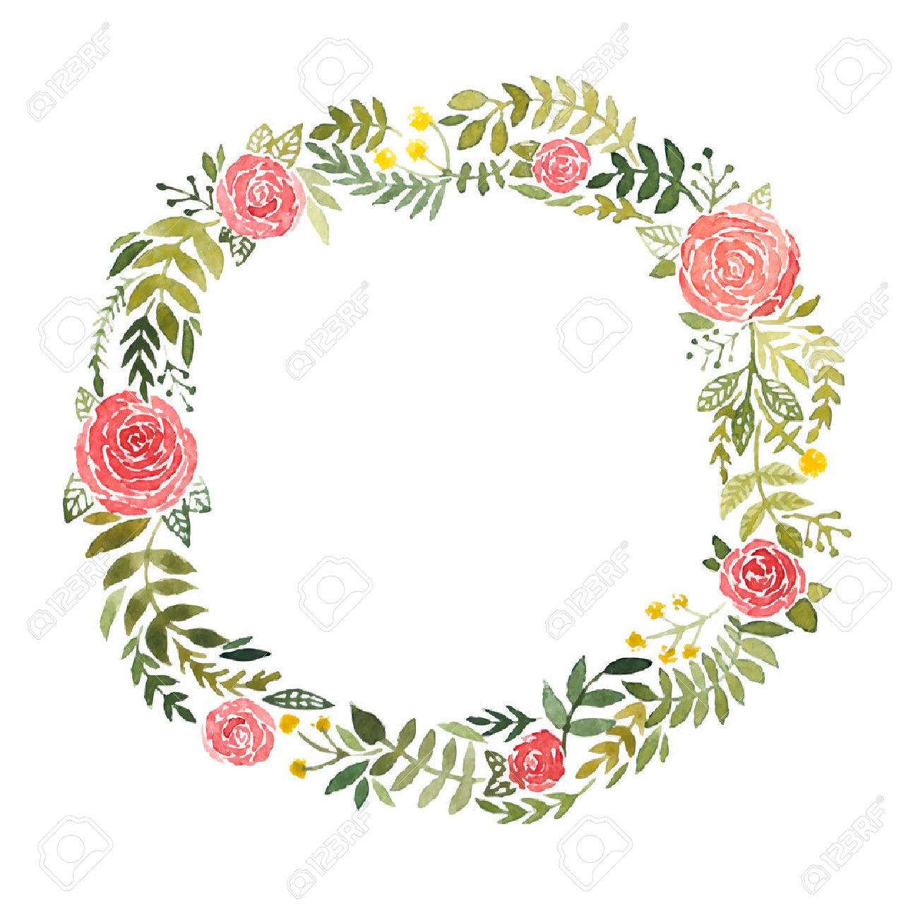 Vector round frame with pink flowers on white background in pastel - Flower Wreath Watercolor Wreath With Roses And Leaves Isolated On White Background