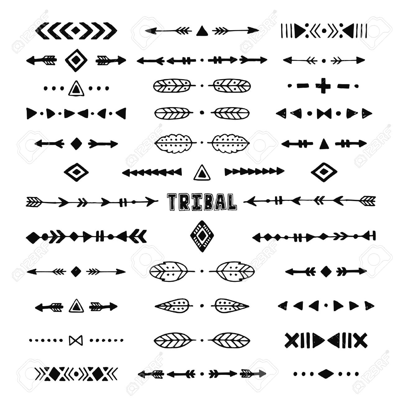 Hand Drawn Tribal Collection With Stroke, Line, Arrow, Decorative ...