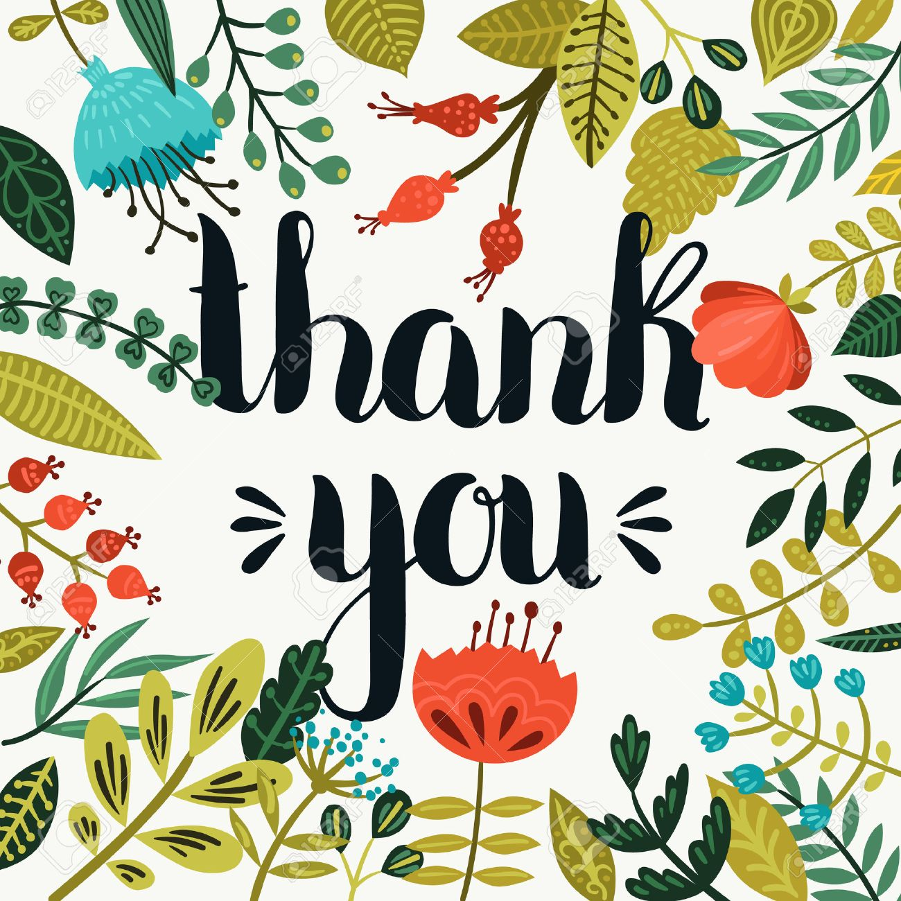 thank you card vector hand drawn lettering with cute flowers