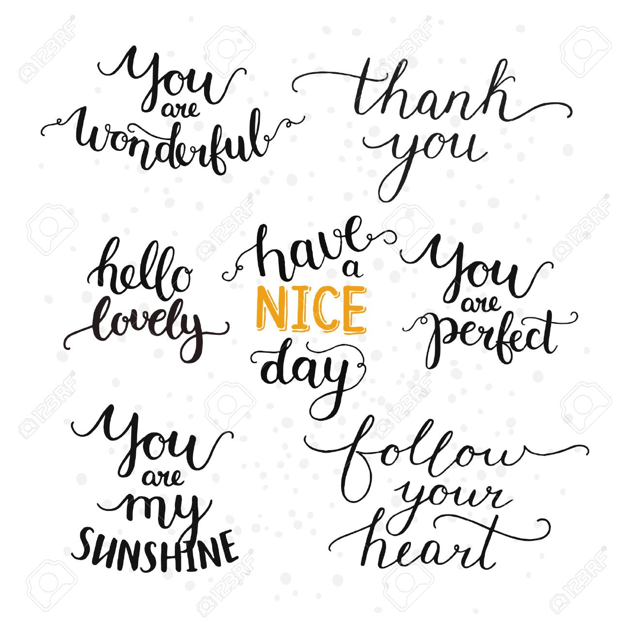 Charming Vector Photo Overlays, Hand Drawn Lettering Collection, Inspirational Quote.  Hello Lovely, Thank