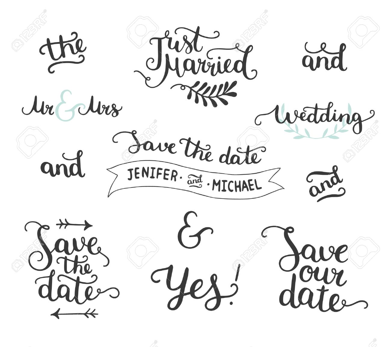 Save the date collection with hand drawn lettering, ampersands and catchwords. Vector set for design wedding invitations, photo overlays and save the date cards - 50991873