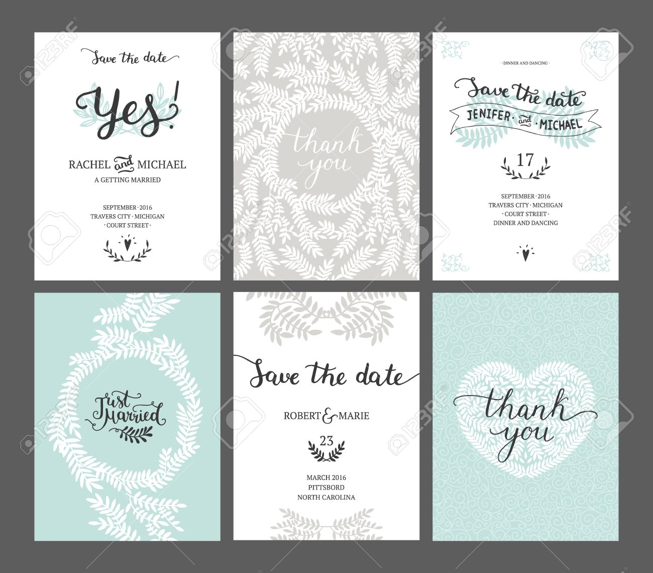 Set of Save the date cards, wedding invitations with handdrawn lettering, heart and branches. Vector wedding template - 51082278