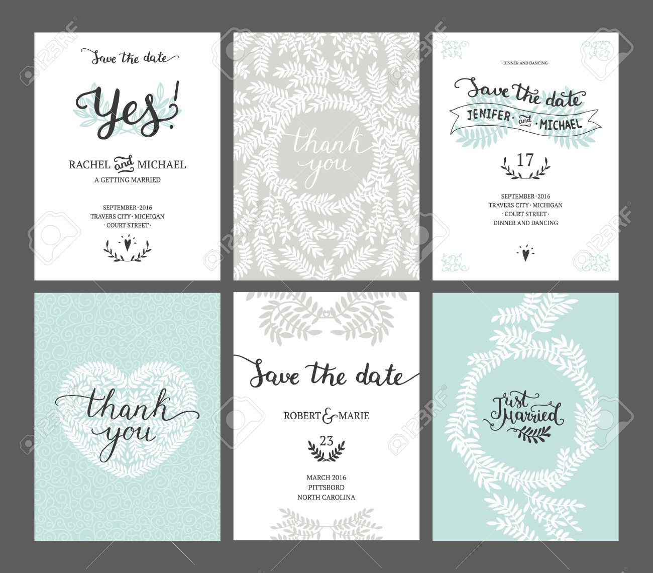 Set of Save the date cards, wedding invitations with handdrawn lettering, heart and branches. Vector wedding template - 51082347