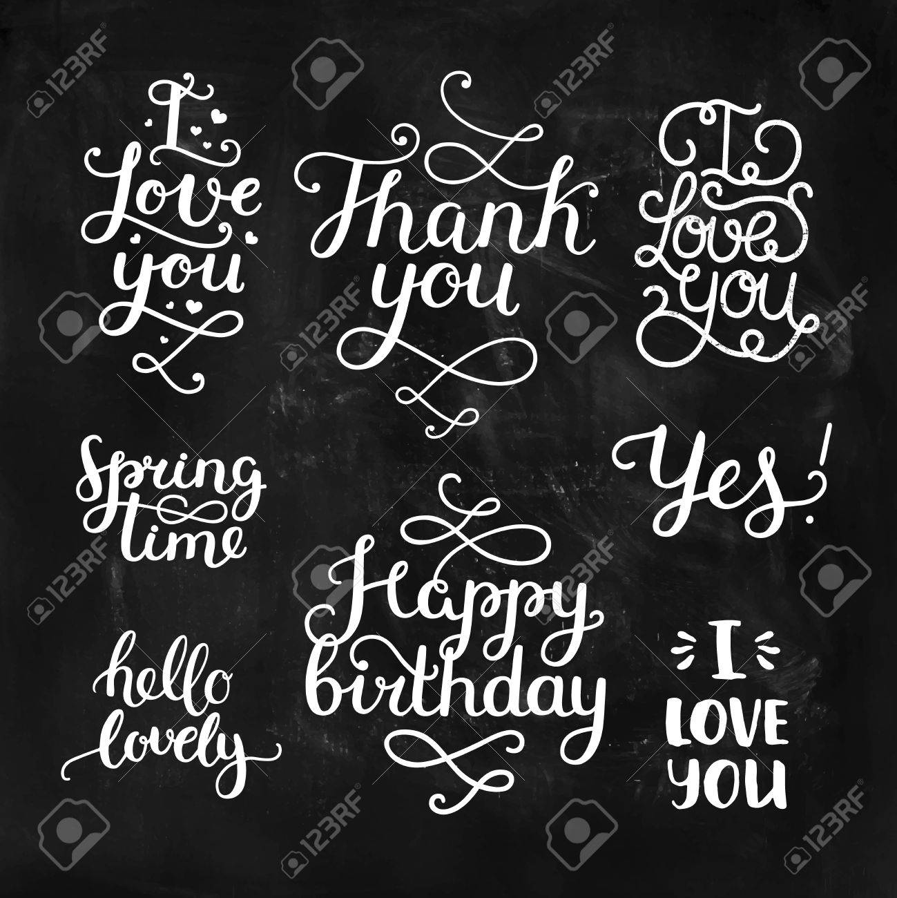 Vector photo overlays, handdrawn lettering collection, love and romantic quote. I love you, Thank you, Spring time, Happy birthday, hello lovely. For scrapbook, greeting cards and more - 51082383