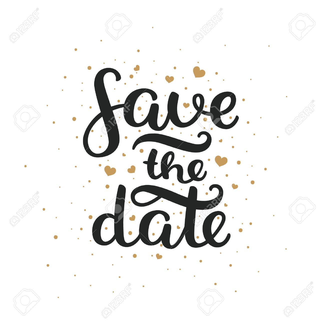 Save the date, hand drawn lettering and gold hearts for design wedding invitation, photo overlays, scrapbook and save the date cards - 51082380