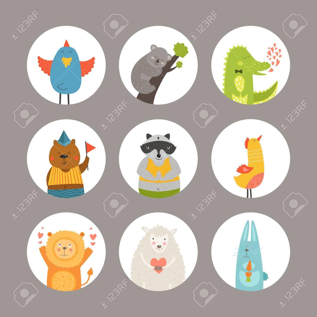 Set of Cartoon animals, cute baby animals. Vector animal - 52881620
