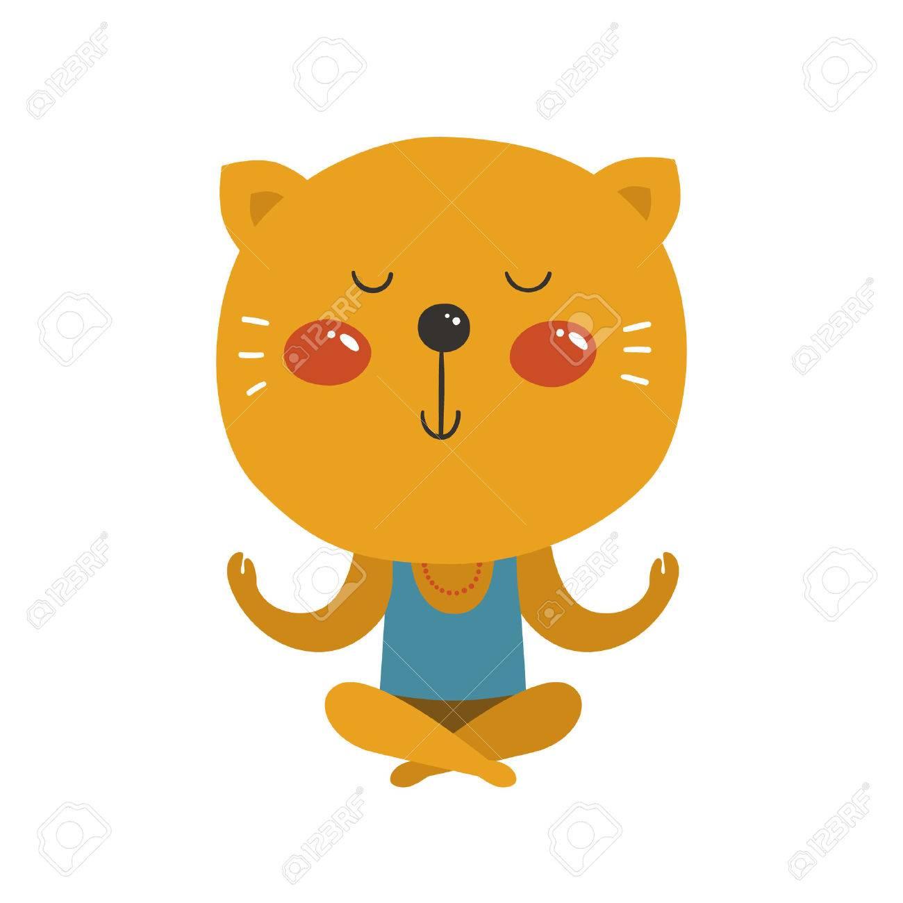 Cartoon animal cute baby animal vector cat yoga isolated on vector cat yoga isolated on white background for m4hsunfo