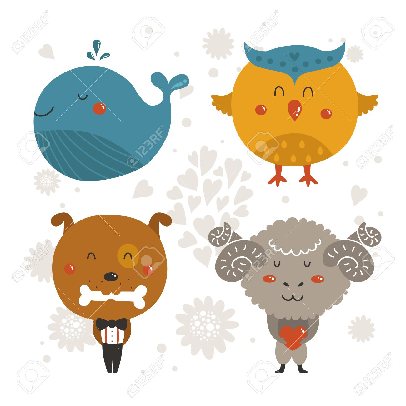 Set of cartoon animals cute baby animal vector whale owl set of cartoon animals cute baby animal vector whale owl dog and voltagebd Images