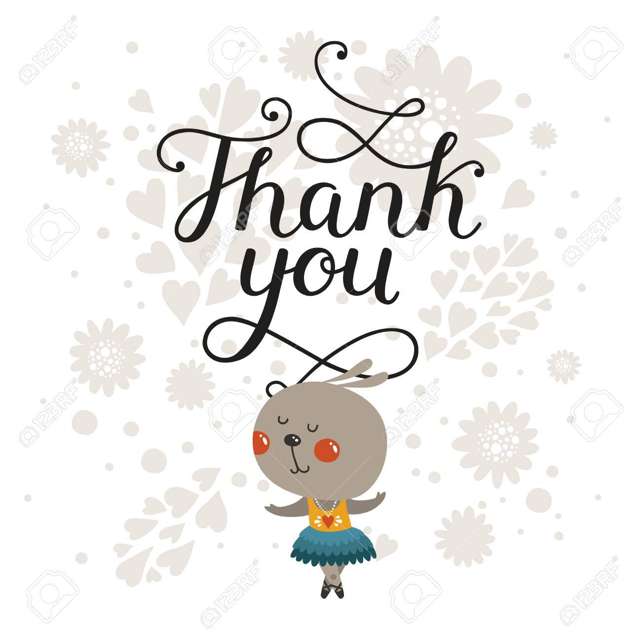 Thank you greeting card with cute rabbit and handdrawn lettering thank you greeting card with cute rabbit and handdrawn lettering cartoon animal cute m4hsunfo
