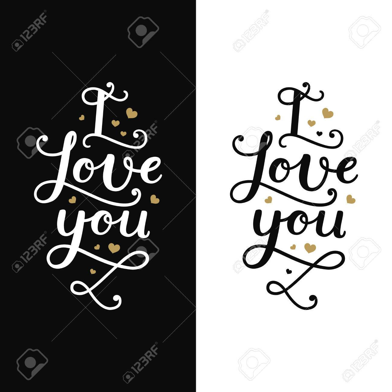I love you love card with lettering and gold hearts on white love card with lettering and gold hearts on white and black background m4hsunfo