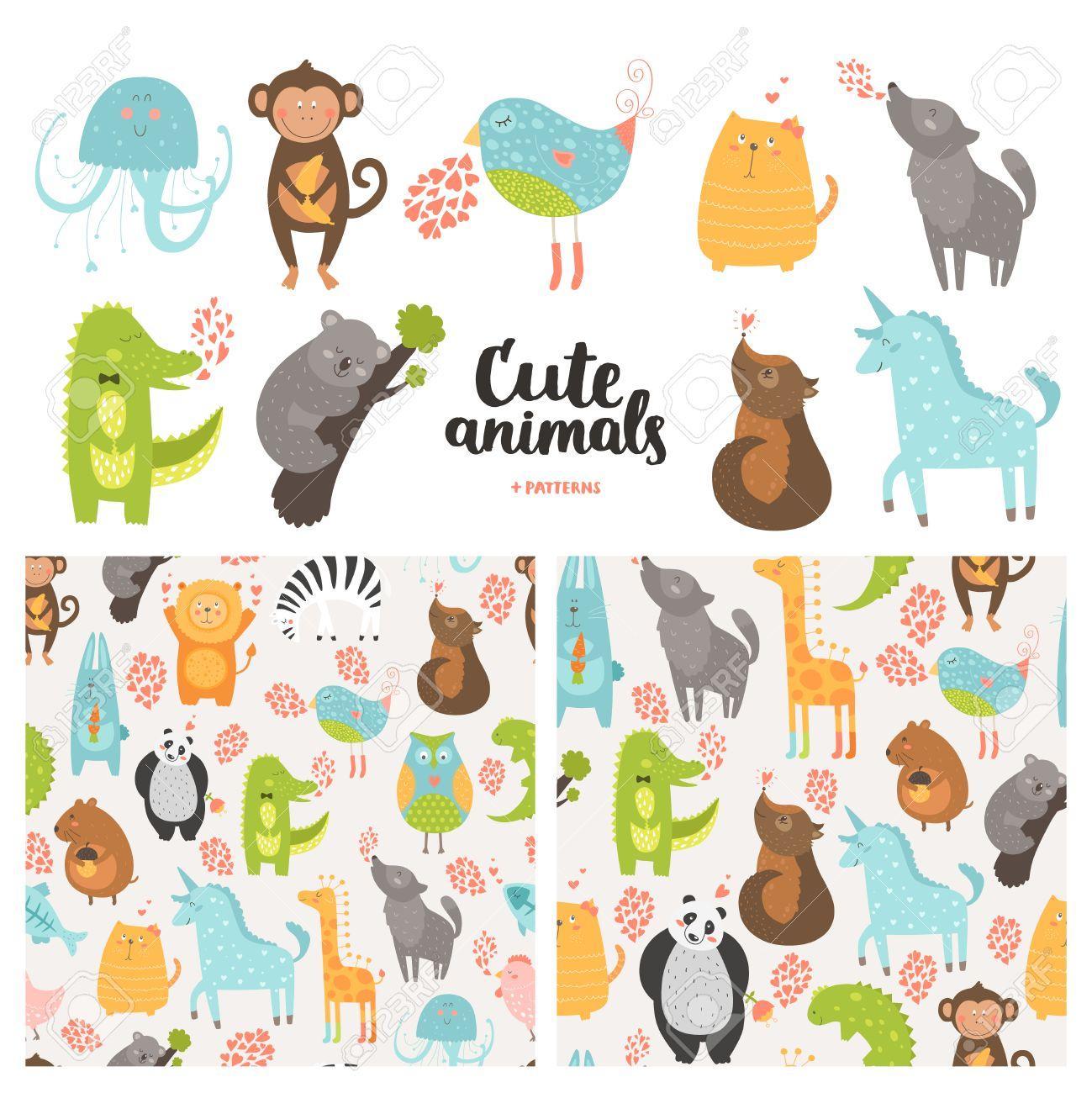 Recogida De Animales De Dibujos Animados Y Patrones De Costura ...