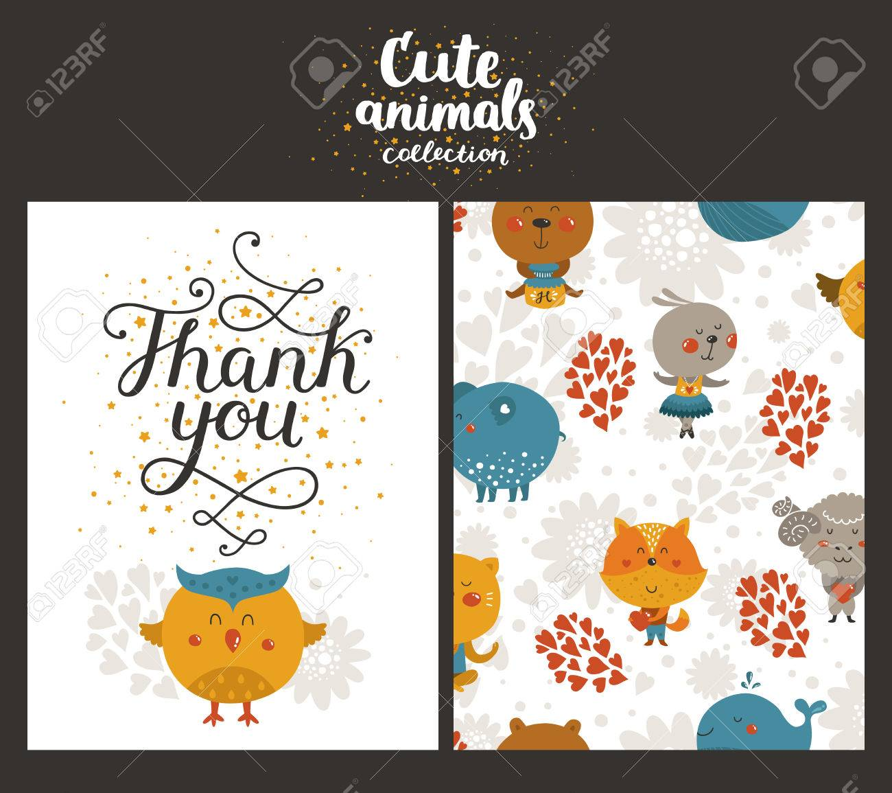 Vector Animal Cards Happy Birthday Card With Lettering And Cute
