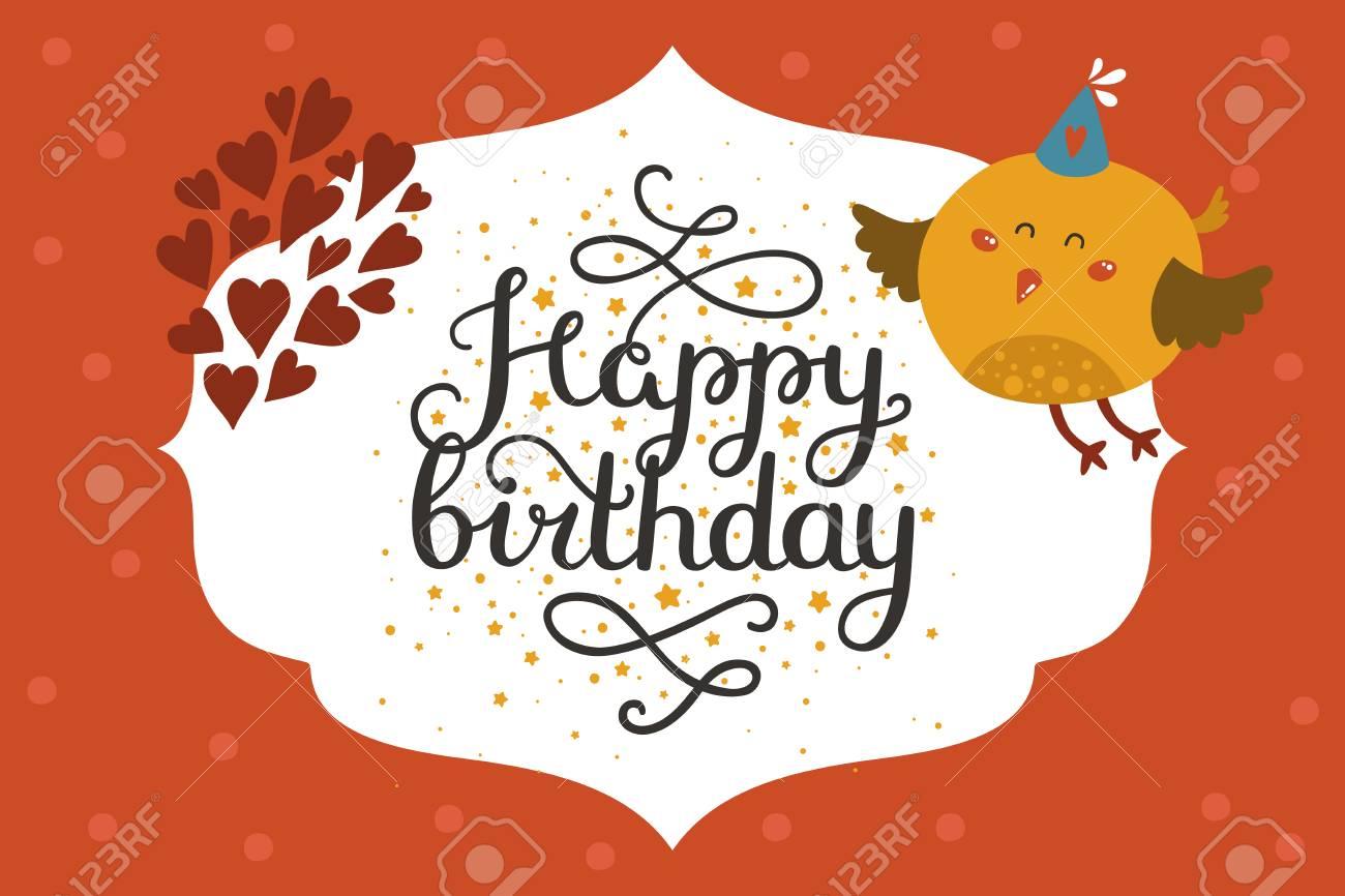 Cute animal card with bird happy birthday card with baby animal cute animal card with bird happy birthday card with baby animal in love and lettering bookmarktalkfo Choice Image