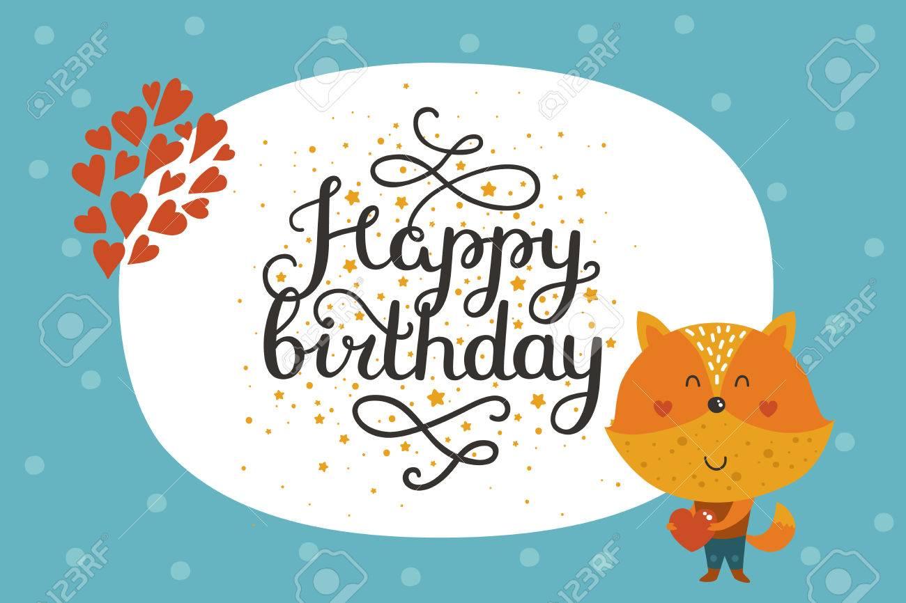 Cute Animal Card With Fox Happy Birthday Card With Baby Animal
