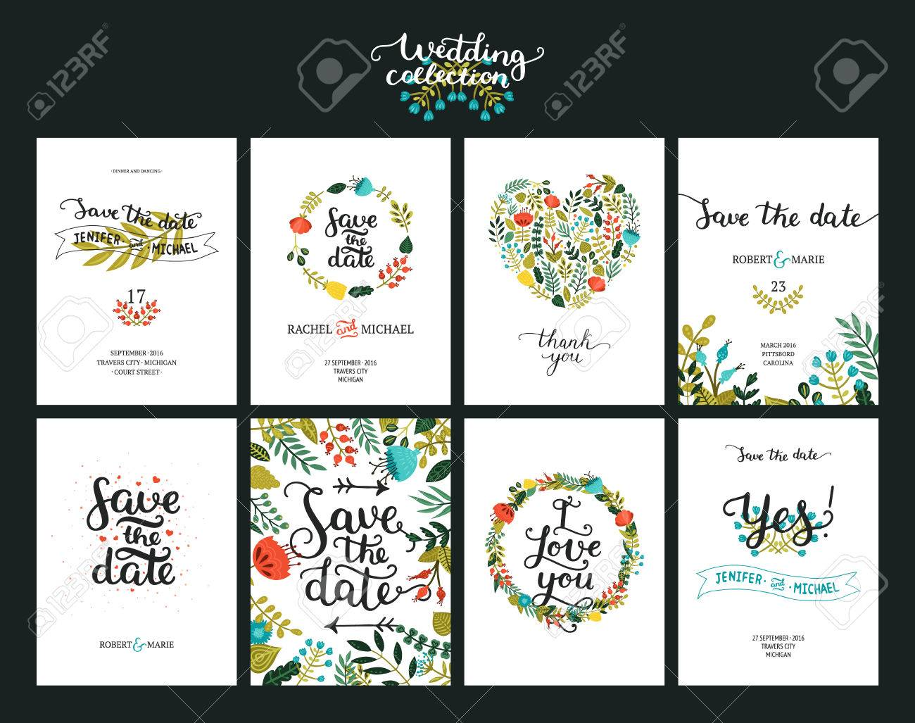 Save the date cards, wedding invitation with hand drawn lettering, flowers and branches. Save the date background. Vector Save the date templates - 58870328