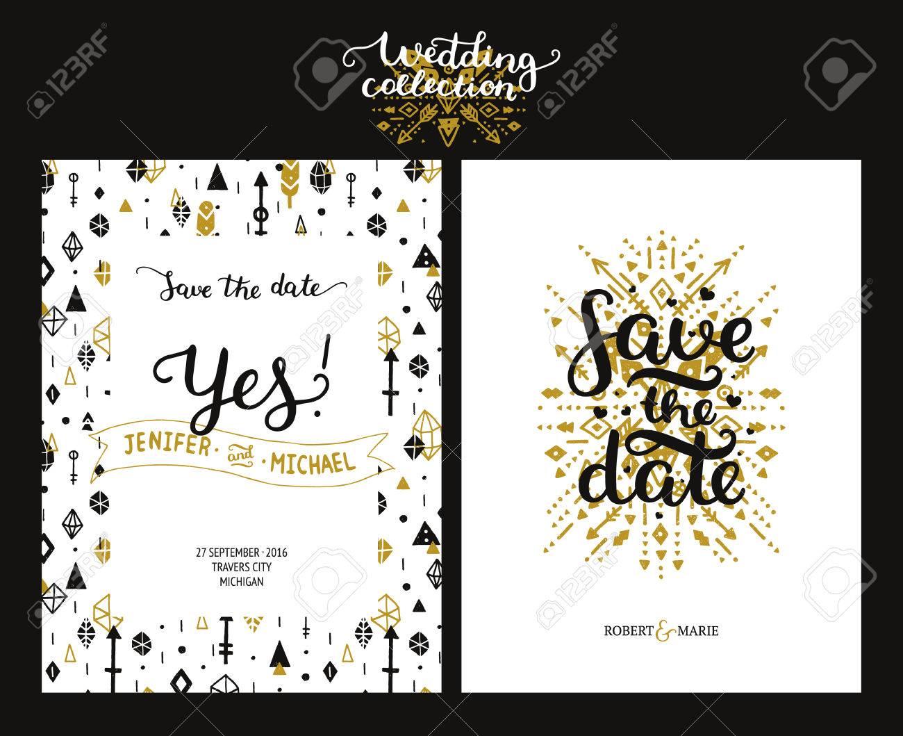 Save the date cards boho wedding invitation with hand drawn save the date cards boho wedding invitation with hand drawn text feathers arrows stopboris Choice Image
