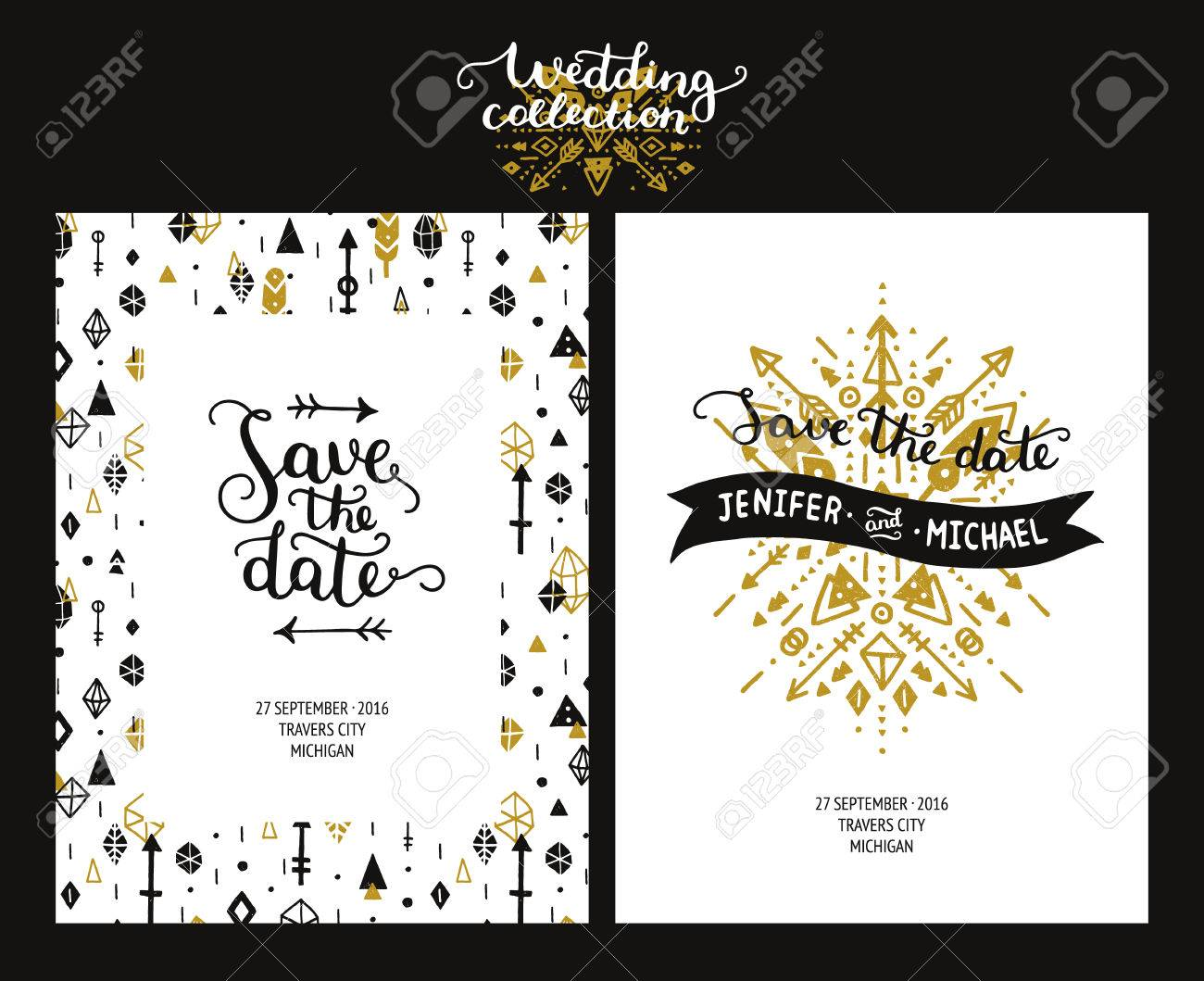 Save The Date Cards, Boho Wedding Invitation With Hand Drawn ...
