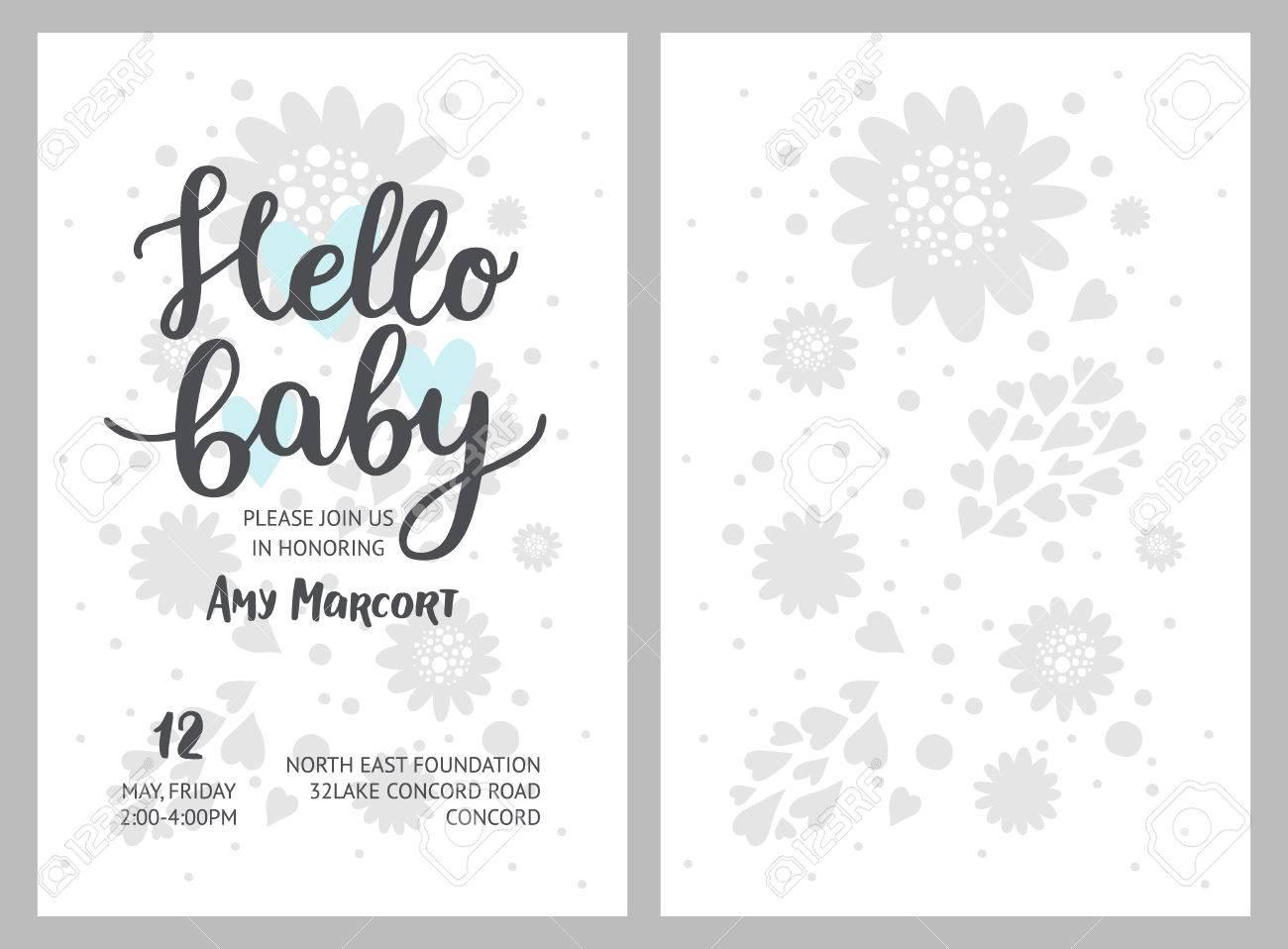Baby-Dusche-Mädchen Und Junge Einladungen, Vektor-Vorlagen ...