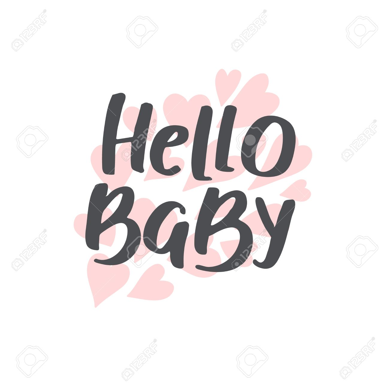 Baby Shower Girl And Boy, Vector Text. Hello Baby. Hand Drawn Font For