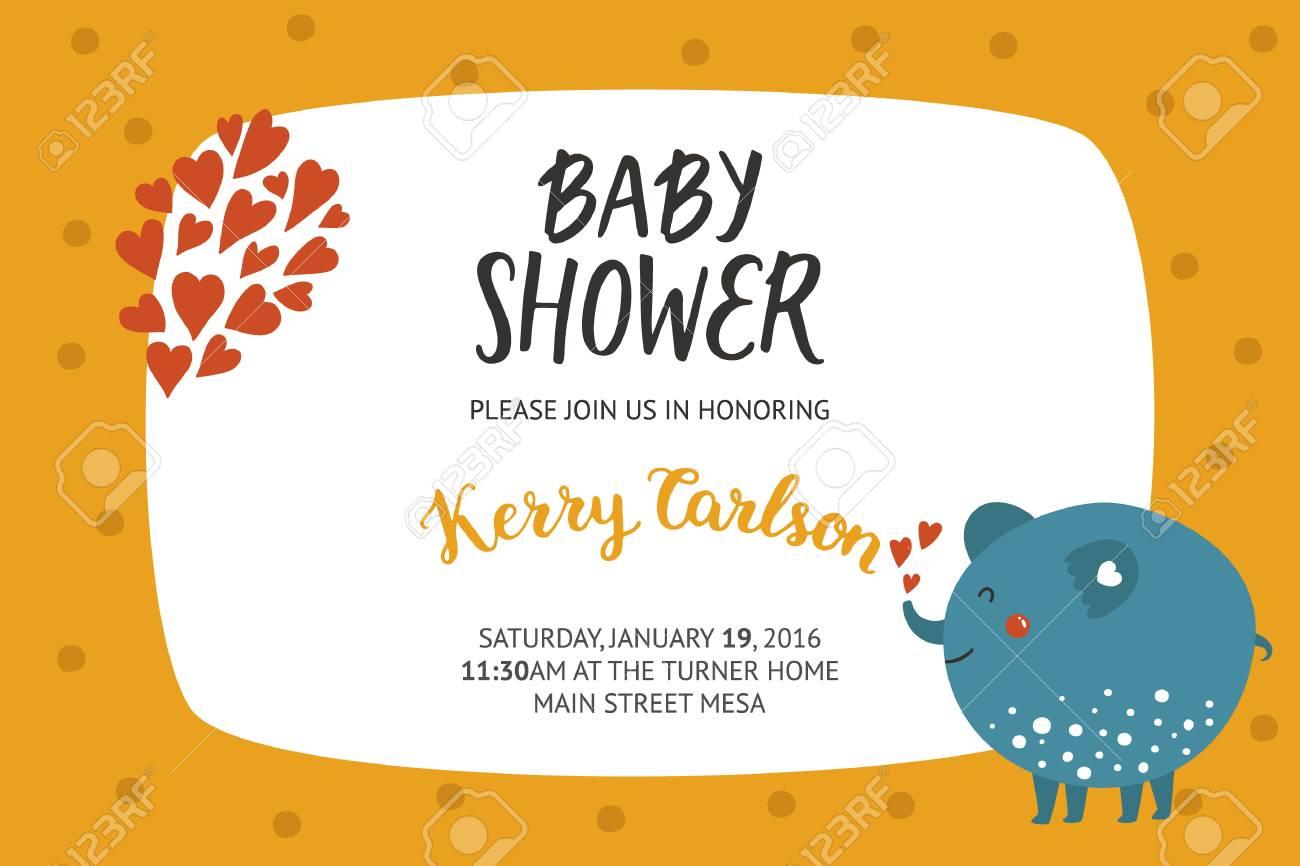 Baby-Dusche Mädchen Und Jungen Einladung, Vektor-Vorlagen Mit Tier ...