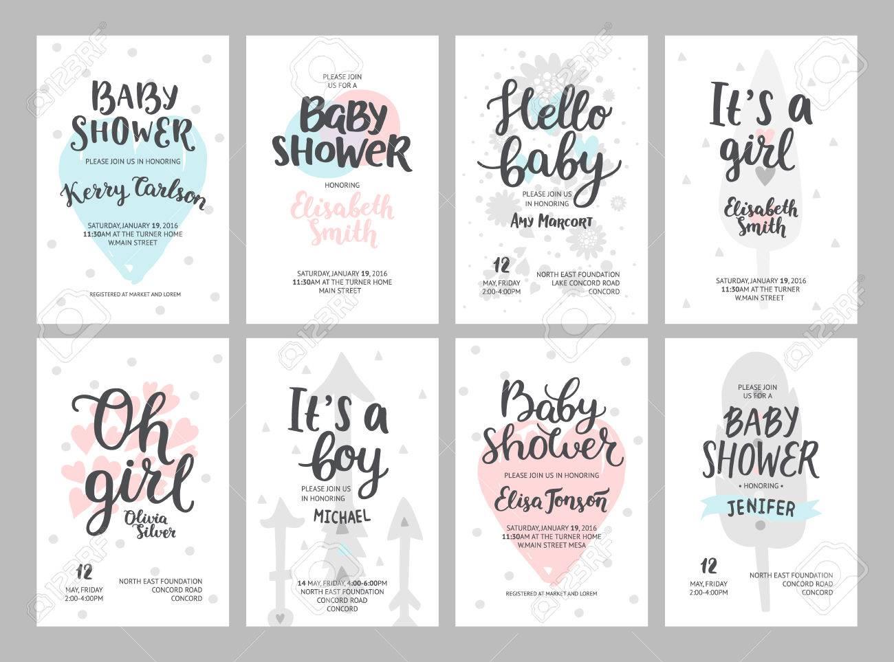 Baby-Dusche Mädchen Und Jungen Poster, Vektor-Vorlagen. Baby-Dusche ...