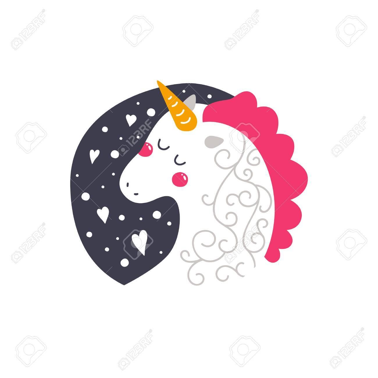 Vector Bebé Unicornio Ilustración Infantil Para Las Impresiones De Diseño Tarjetas E Invitaciones De Cumpleaños Tarjeta De La Muchacha Con