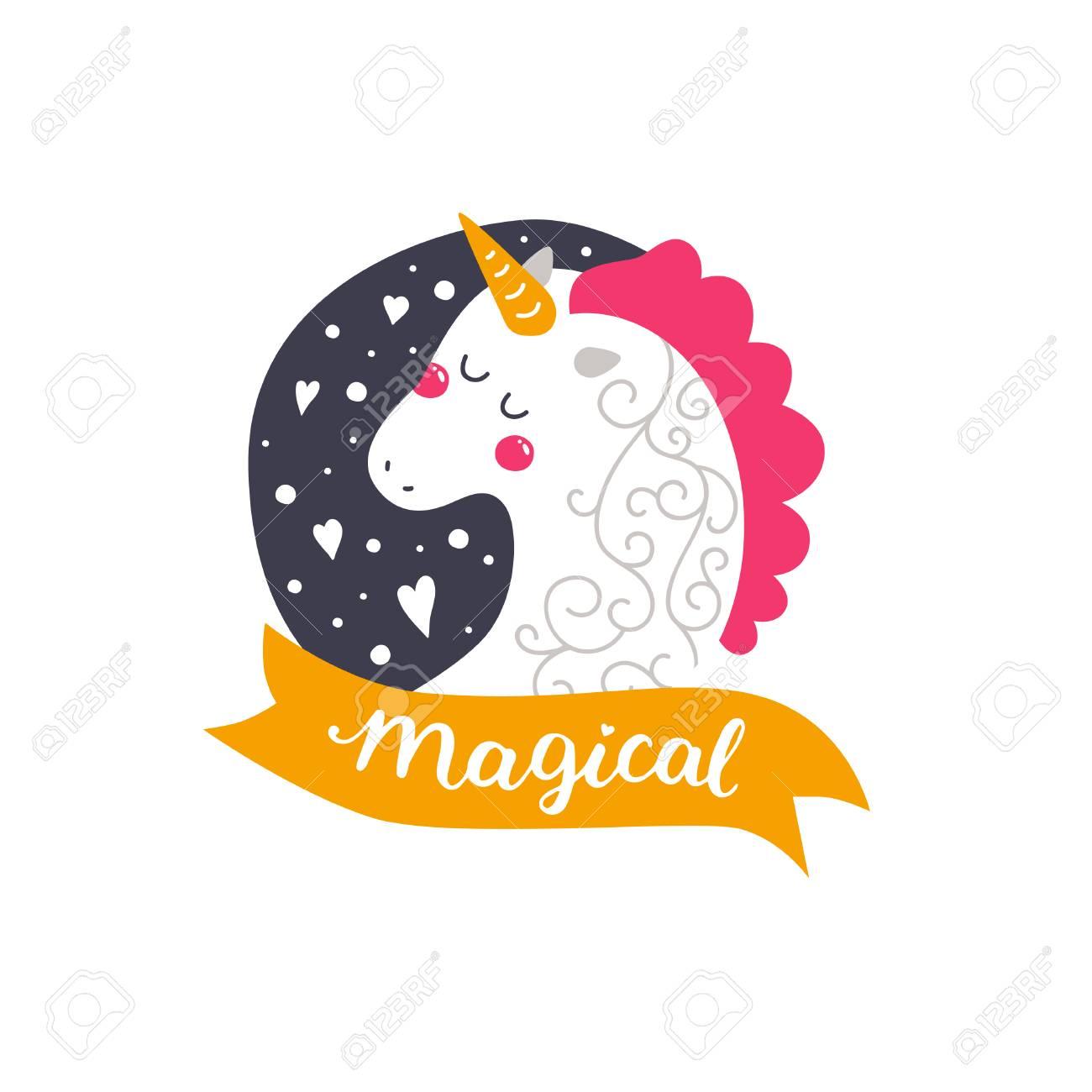 Vector Bebé Unicornio Ilustración Infantil Para Las Impresiones De Diseño Tarjetas Invitaciones De Cumpleaños Tarjeta De La Muchacha Con Unicornio