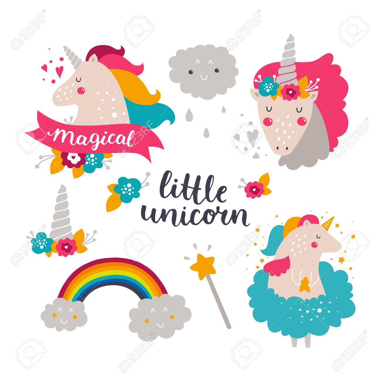 Set Of Baby Unicorn And Rainbow. Kids Illustrations For Design ...
