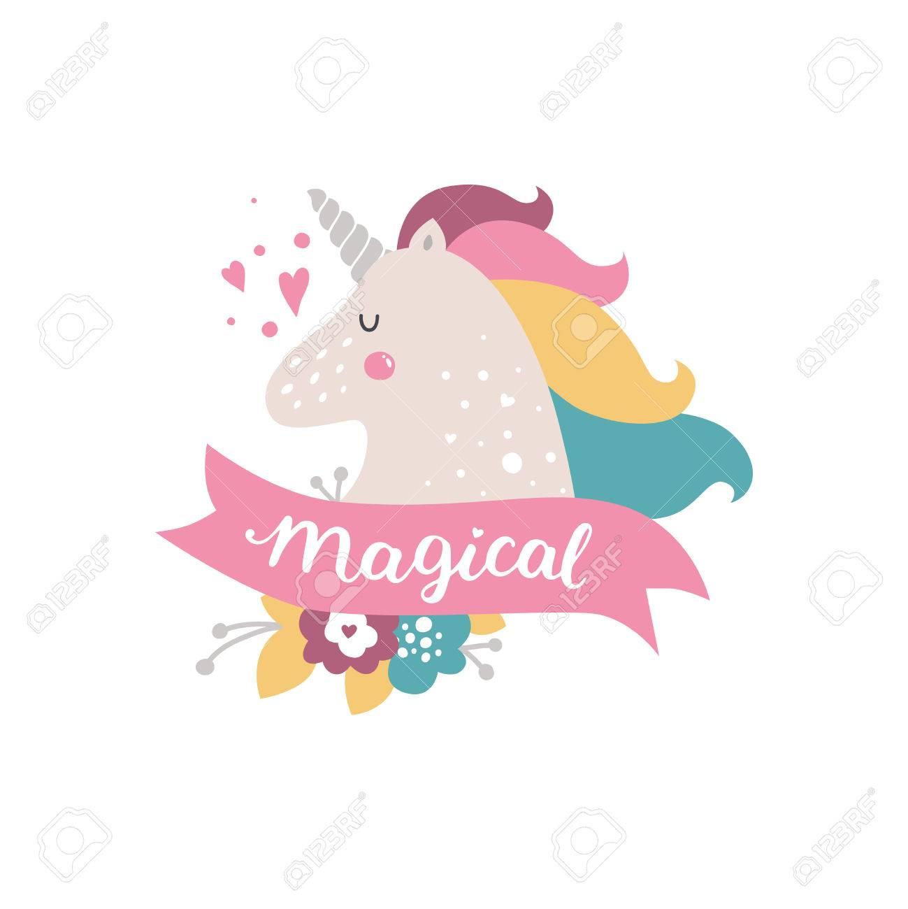 Vector Bebé Unicornio Ilustración Infantil Para Las Impresiones De Diseño Tarjetas E Invitaciones De Cumpleaños Tarjetas De La Chica Con Lindo